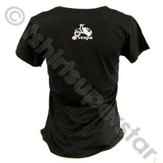 Vespa Piaggio Girls, Ladies Retro T Shirt /Top / Tshirt