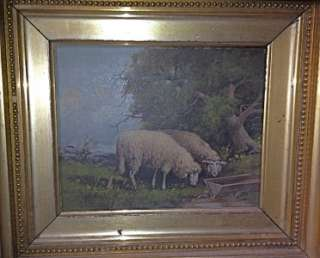 PASTORAL SHEEP SCENE OIL PAINTING w ORIG ORNATE GILT GESSO FRAME