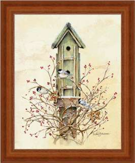 Winter Home Country Bird House Red Berries Art Framed
