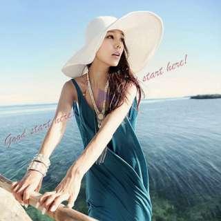 Womens Wide Large Brim Summer Beach Sun Hat Straw Beach Derby Cap