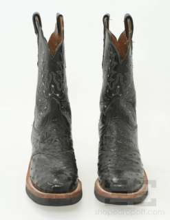 Lucchese Black Ostrich & Leather Western Boots Size 9.5B