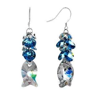 Waterdrop Swarovski Crystal Dangle Fish Elf Earrings Pugster Jewelry