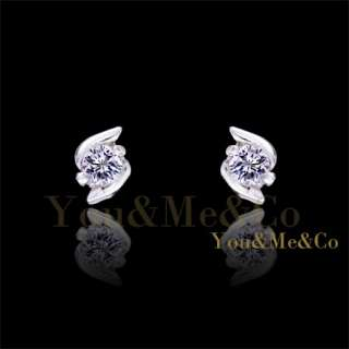 Tiny Size18k White Gold EP 0.2ct Brilliant Cut Crystal Stud Earrings