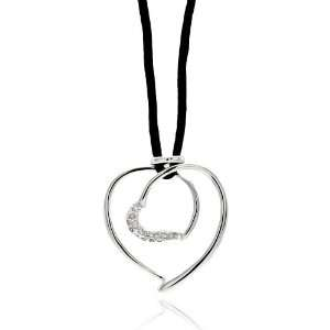 Nickel Free Brass Necklaces Open Heart With Black Cord Rhodium Plated