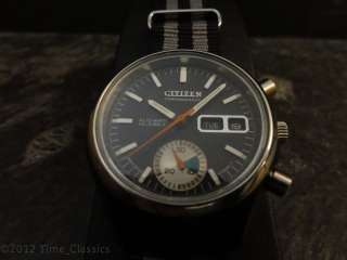 VINTAGE CITIZEN 8110 SIDE FLYBACK BLACK MILITARY STYLE CHRONOGRAPH