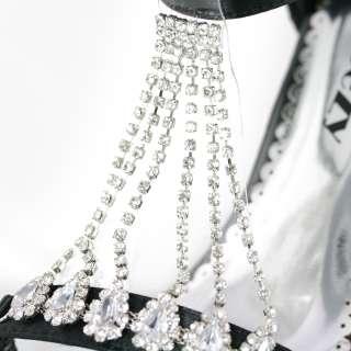 SHOEZY womens black diamante chains satin dresses platform heels shoes