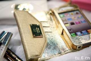 Wallet Credit Card Flip Leather Case Cover Pouch Apple iPhone4 4S gold