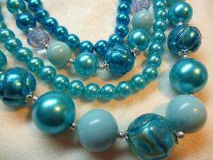 Vintage Multi 4 Strand NECKLACE Aqua Teal Blue Glass Foil Beads Japan
