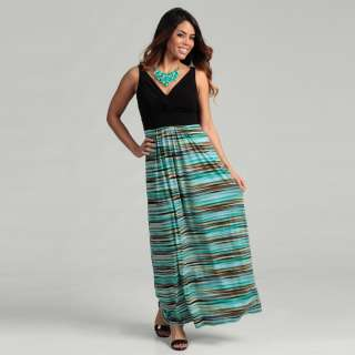 London Times Womens Black/ Green Knotted V neck Maxi Dress