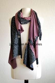 Animal Print with Charms Fall/Winter Scarf Wrap 4 Color