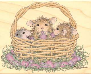 HOUSE MOUSE Wood Mounted Rubber Stamp Easter Basket Friends