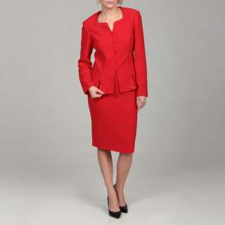Emily Womens Red Embellished Jacket/ Skirt Suit