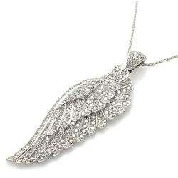 14k White Gold 1 1/2ct TDW Diamond Angel Wing Necklace (H I, I2