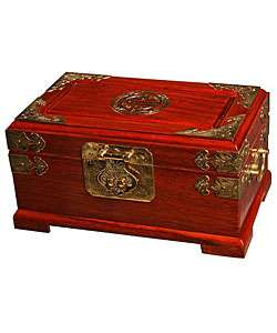 Handmade Asian Brass and Wood Jewelry Box  Overstock