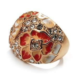Dome Shaped Crystal Flower Ring (Gold Tone)   size 9