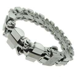 Black and Blue Jewelry Stainless Steel Mens Heavy Ingot Link Bracelet