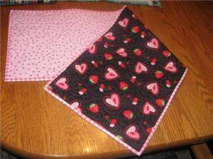 Handcrafted table Runner Valentines Cherry strawberry