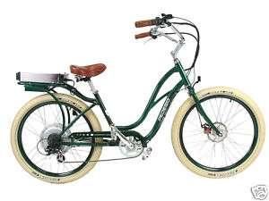 PEDEGO ELECTRIC CRUISER BICYCLE BIKE  GREENFRAME/GREENRIMS & CREME