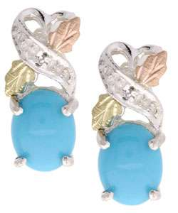Gold Silver & 14 kt Gold Diamond Turquoise Earrings