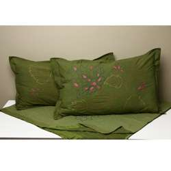 Green Embroidered Bed Cover and Pillow Shams (India)  Overstock