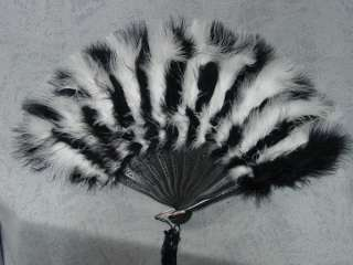 Victorian style black & white Marabou feather fan NEW
