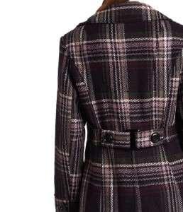 winter purple plaid Wool blend jacket pea coat plus size 2X new