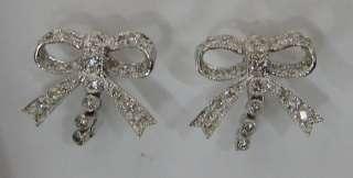 Lovely Bow .60ctw Diamond 14K White Gold Pierced Screw On Earrings 3