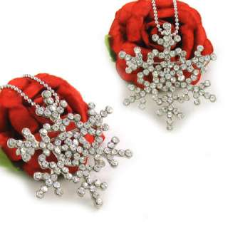SNOWFLAKE BRIDESMAID RHINESTONE PENDANT NECKLACE N105