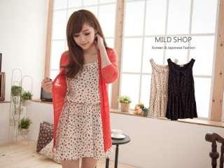 Womens Japanese Korean Fashion Style Sleeveless Dots Floral Vest Dress