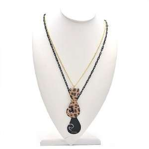 ] Lovely & Cute Leopard Double Cat Long Necklace / Brown. Jewelry