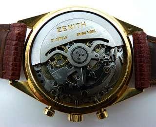 ZENIH 18c Gold G581 El Primero 3019 PHC Chronograph   c 1969   Rare