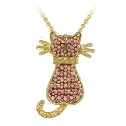 Gold over Silver Champagne Diamond Accent Cat Necklace