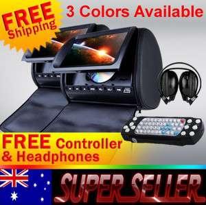 Black Xtrons Pair 9Car Pillow Headrest DVD Player Monitor 2 Wireless