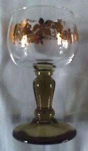 Vintage * Wine Glass * Green Stem Clear Bowl GRAPE Gold