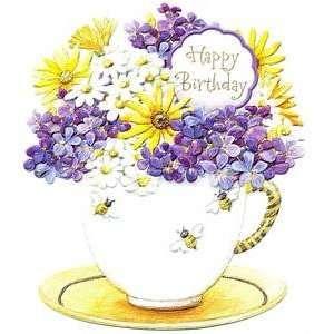 Carol Wilson Birthday Greeting Card Bee Teacup