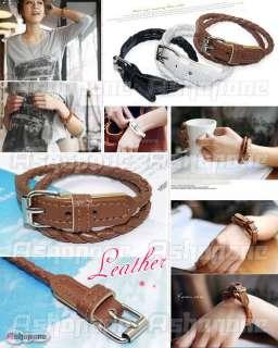 New Fashion Weaved Leather Double Wrap Belt Bracelet Wristband