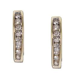 10k Yellow Gold 1/4ct Diamond Hoop Earrings ( K L, I3 )