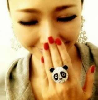 Full of crystals panda finger ring very lovely