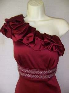 CHETTA B One Shoulder ruby red Stretch Satin beaded Cocktail Dress 10