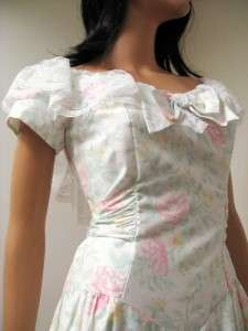 Vintage NWT White Pink Floral Wedding Prom Dress Gown S Deadstock NOS