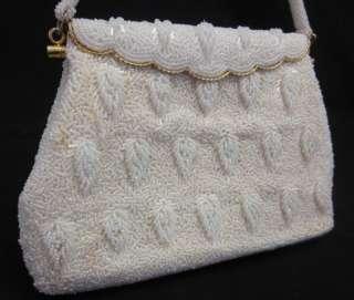 DESIGNER Vintage Ivory Beaded Evening Bag Handbag