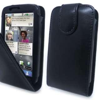 Premium Black Flip Leather Case Cover Motorola Defy +SP