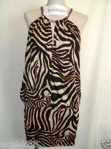 NEW Victorias Secret Moda Zebra Print Dress L S $98