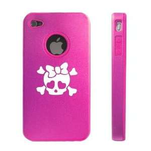 Apple iPhone 4 4S 4G Hot Pink D46 Aluminum & Silicone Case Heart Skull