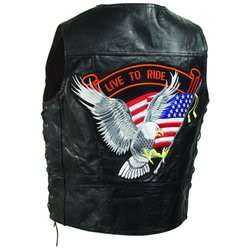 Mens Leather Motorcycle Biker Vest Waist Coat w/eagle Flag~M L XL 2X