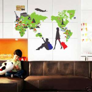WORLD MAP ★ Nursery Decor Removable Wall Decal Stickers