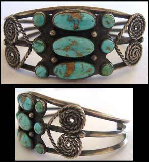 VINTAGE NAVAJO INDIAN STERLING SILVER MULTI TURQUOISE STONES CUFF