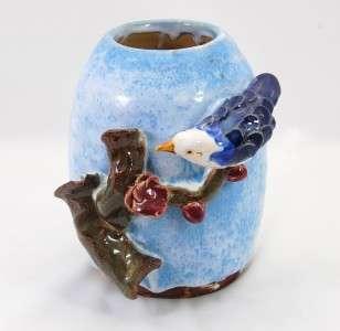 Mann MM Studio Art Pottery Applied Bird Vase Sky Blue