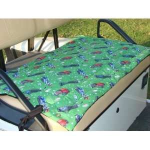 Golf Cart Seat Cover, Green Golf Bag Print Kitchen