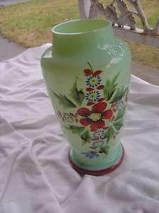 VTG Victorian Bristol Glass Vase Jadite Green Floral